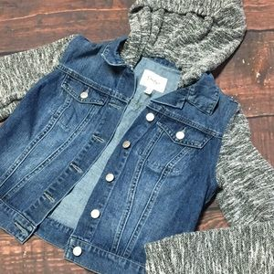 Jessica Simpson Denim Jacket and Knit Hoodie